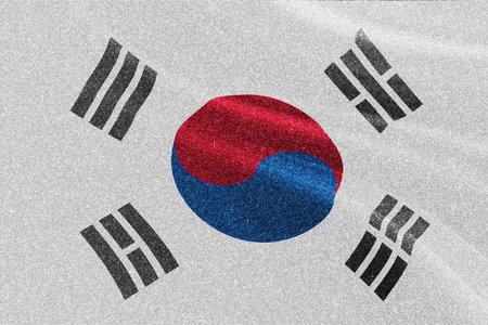 South Korea glitter texture flag, national flag.