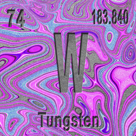 Tungsten chemical element, Sign with atomic number and atomic weight, purple background, Periodic Table Element