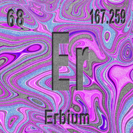 Erbium chemical element, Sign with atomic number and atomic weight, purple background, Periodic Table Element