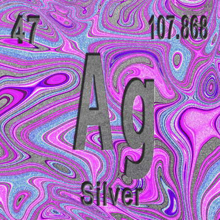 Silver chemical element, Sign with atomic number and atomic weight, purple background, Periodic Table Element