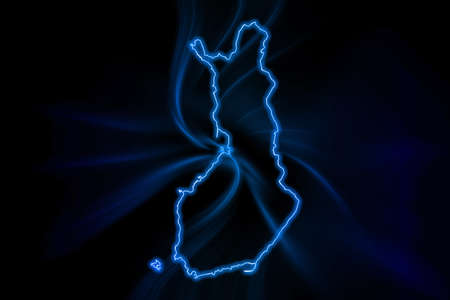 Glowing Map of Finland, modern blue outline map, on dark Background