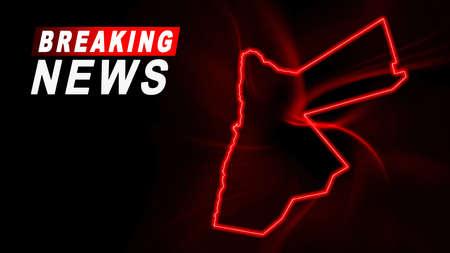 Breaking News Map of Jordan, outline red glow map, on dark Background