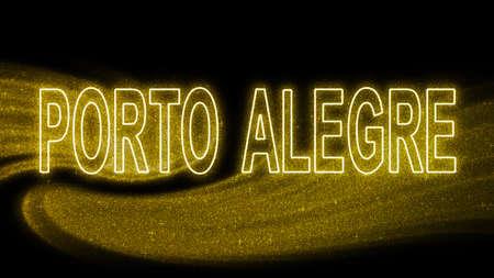 Porto Alegre Gold glitter lettering, Porto Alegre Tourism and travel, Creative typography text banner, on black background.