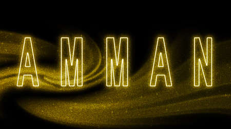 Amman Gold glitter lettering, Amman Tourism and travel, Creative typography text banner, on black background.