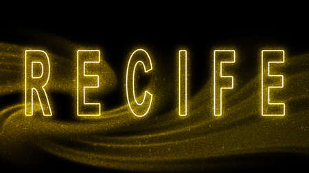 Recife Gold glitter lettering, Recife Tourism and travel, Creative typography text banner, on black background.