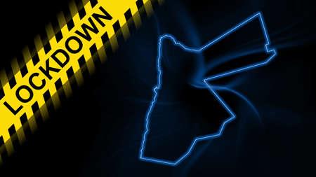 Lockdown Jordan, outline map Coronavirus, Outbreak quarantine, on dark Background