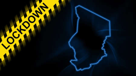 Lockdown Chad, outline map Coronavirus, Outbreak quarantine, on dark Background
