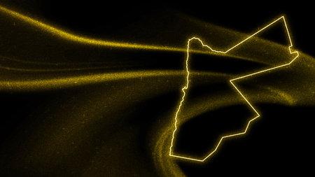 Map of Jordan, Gold glitter map on dark background