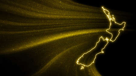 Map of New Zealand, Gold glitter map on dark background