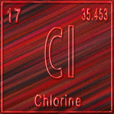 Chlorine chemical element, Sign with atomic number and atomic weight, Periodic Table Element