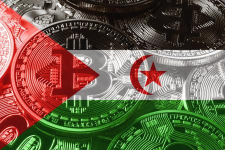 Sahrawi Arab Democratic Republic bitcoin flag, national flag cryptocurrency concept black background