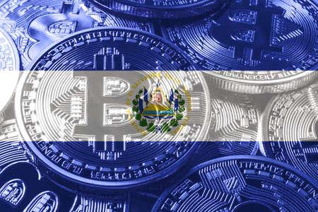 El Salvador bitcoin flag, national flag cryptocurrency concept black background Stock Photo