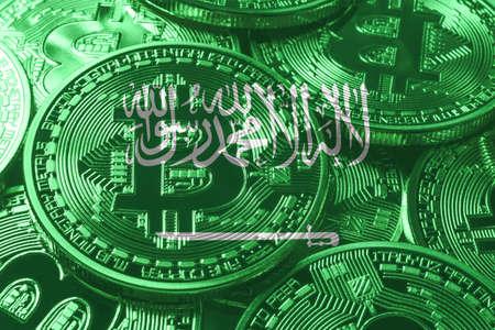 Saudi Arabia bitcoin flag, national flag cryptocurrency concept black background