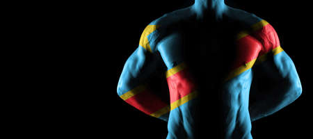 Democratic Republic of Congo flag on muscled male torso with abs, black background