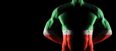 Chechnya flag on muscled male torso with abs, black background Archivio Fotografico