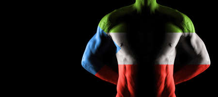 Equatorial Guinea flag on muscled male torso with abs, black background