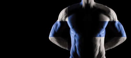 Finland flag on muscled male torso with abs, black background