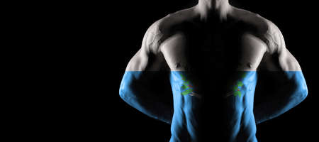 San Marino flag on muscled male torso with abs, black background