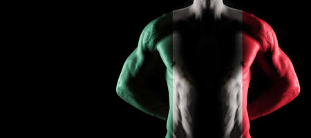 Mexico flag on muscled male torso with abs, black background