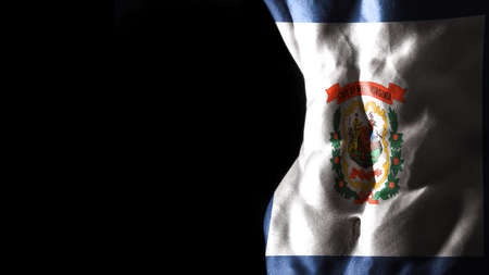 West Virginia flag on abs muscles, West Virginia bodybuilding concept, black background