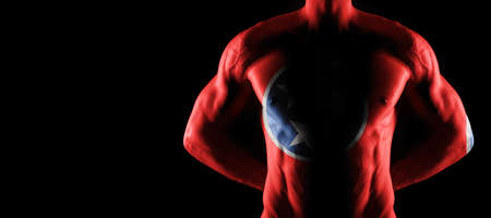 Tennessee flag on muscled male torso with abs, Tennessee bodybuilding concept, black background Archivio Fotografico