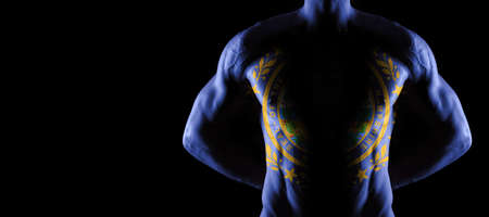 New Hampshire flag on muscled male torso with abs, New Hampshire bodybuilding concept, black background Archivio Fotografico
