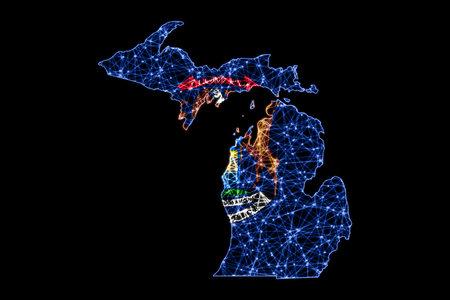 Map of Michigan, Polygonal mesh line map, flag map