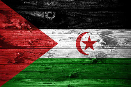 Sahrawi Arab Democratic Republic flag on wooden planks background wood flag Stock fotó