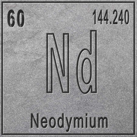 Neodymium chemical element, Sign with atomic number and atomic weight, Periodic Table Element, silver background Stock fotó
