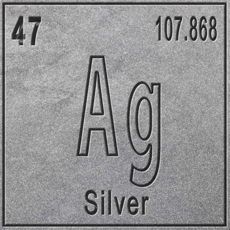 Silver chemical element, Sign with atomic number and atomic weight, Periodic Table Element, silver background