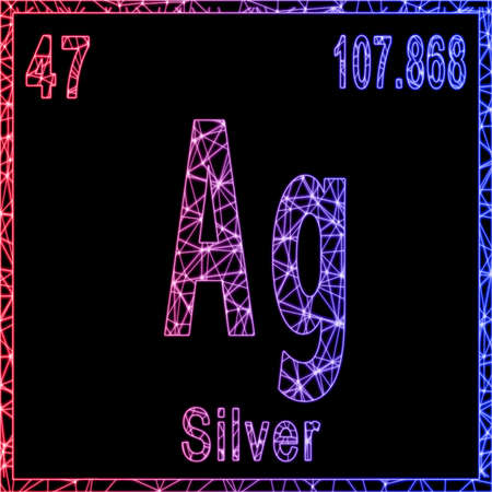 Silver chemical element, Sign with atomic number and atomic weight, Banque d'images