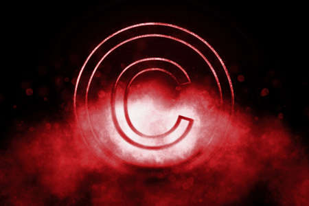 Copyright Symbol, C letter in circle, Blue symbol Foto de archivo
