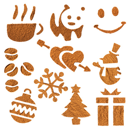 Stenciled symbols of cocoa on white isolated background