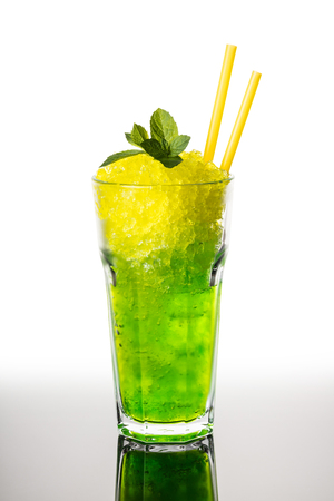 Cocktail mojito from ice on a white background