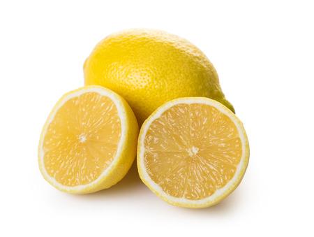 ripe lemon close-up on white isolated background Imagens