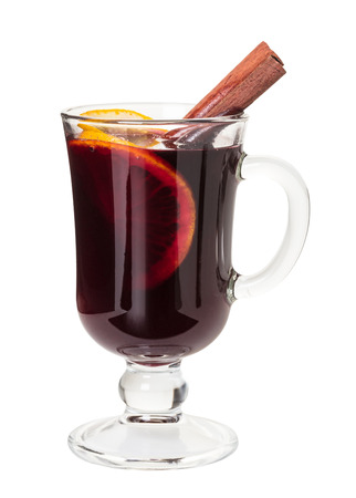 Hot drink mulled wine on white background Standard-Bild