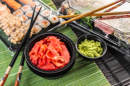 Japanese cuisine, sushi set in the package