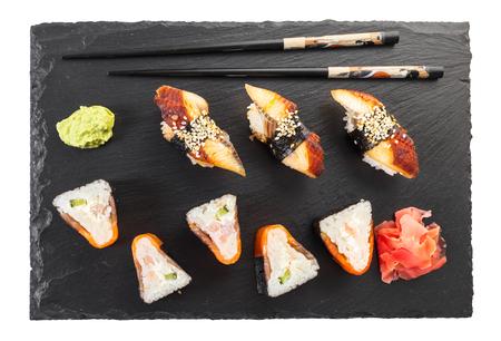 Japanese food, sushi set on white isolated background