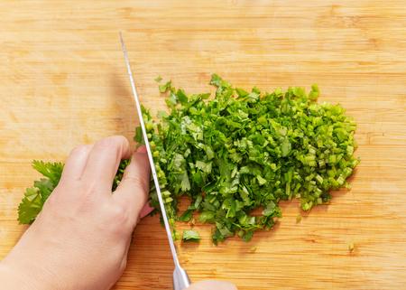 Person chopping green coriander on a wooden board Reklamní fotografie