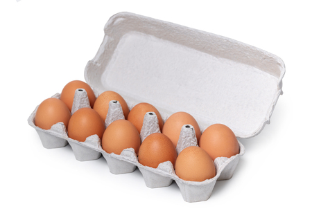chicken eggs in the package on a white isolated background