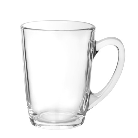 new glass mug on white isolated background