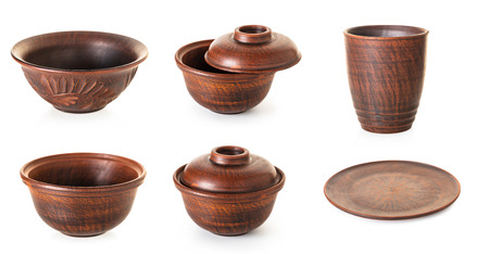 set of new earthenware on white isolated background