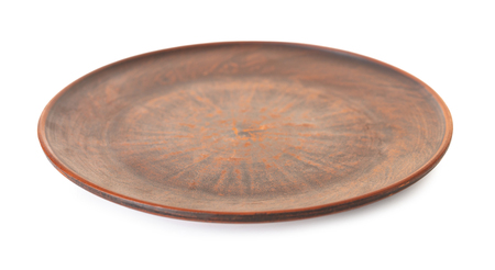 new clay plate closeup on white isolated background