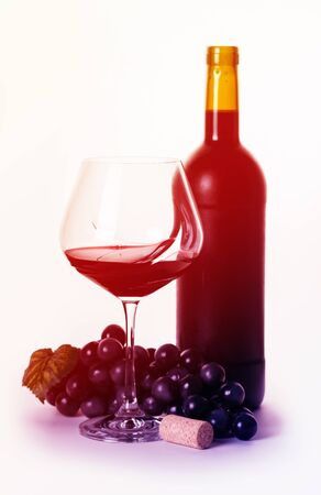 bottle and glass with red wine on a white background