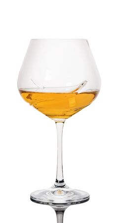 glass of white wine on a white isolated background Stockfoto