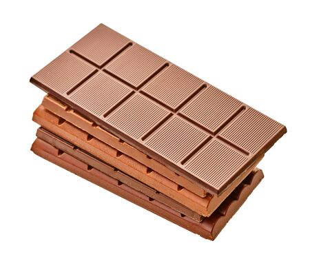 set of chocolate bars close-up on a white isolated background Stockfoto