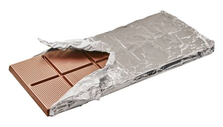 chocolate bar in foil on a white isolated background