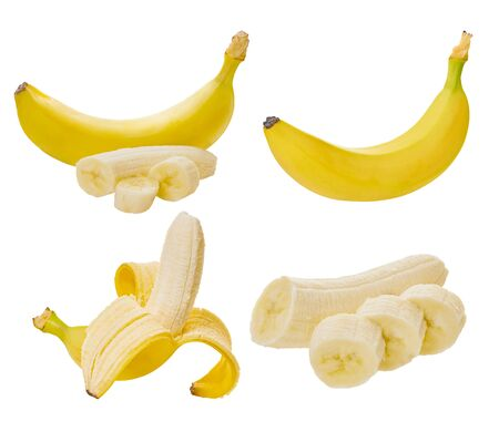 set of bananas on a white isolated background with clipping path