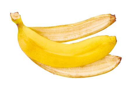 banana peel on white isolated background with clipping path