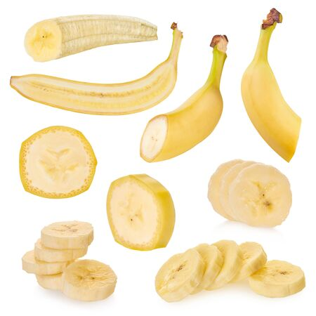 set of bananas on a white isolated background with clipping path                                 Stockfoto
